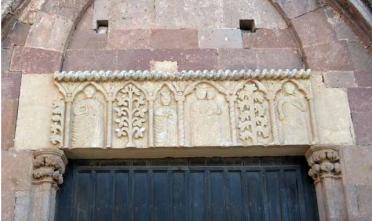Architrave di San Pietro di Bosa coi Santi Pietro_Paolo_Maria_Costantino