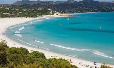BCWKW5 Sandy beach, panorama, bay, coast, Porto Giunco Playa, Villasimius, Sardinia, Italy, Europe